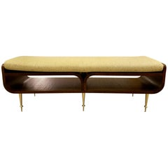 Limited Edition Italian Two-Tier Brown Wood Bench With Brass Legs
