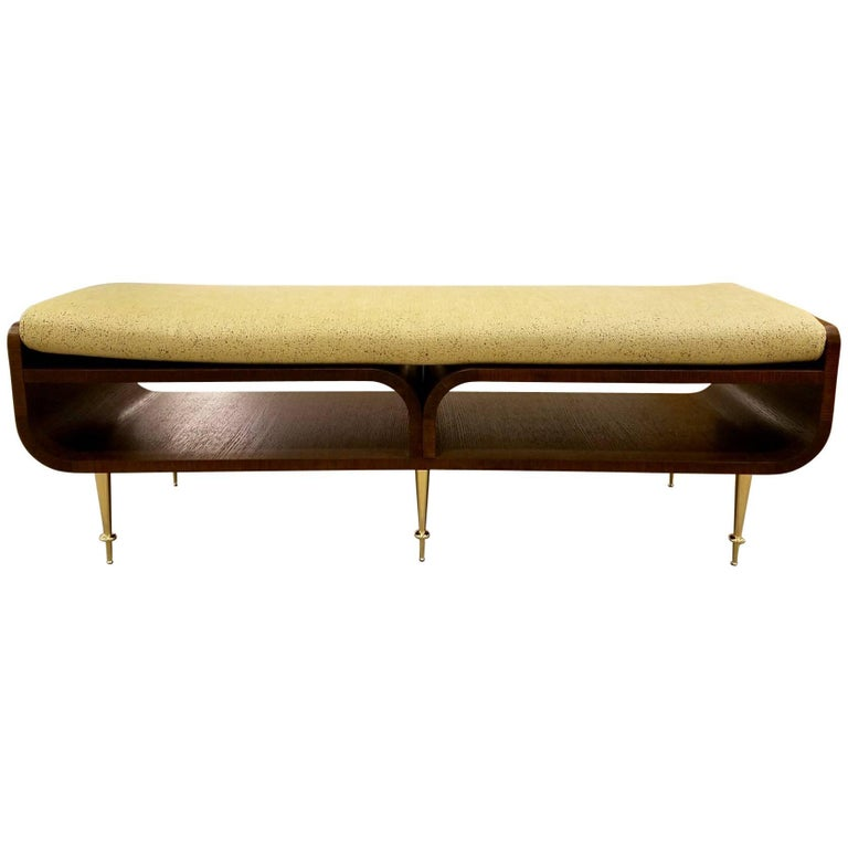 Limited Edition Italian Two-Tier Brown Wood Bench With Brass Legs For Sale