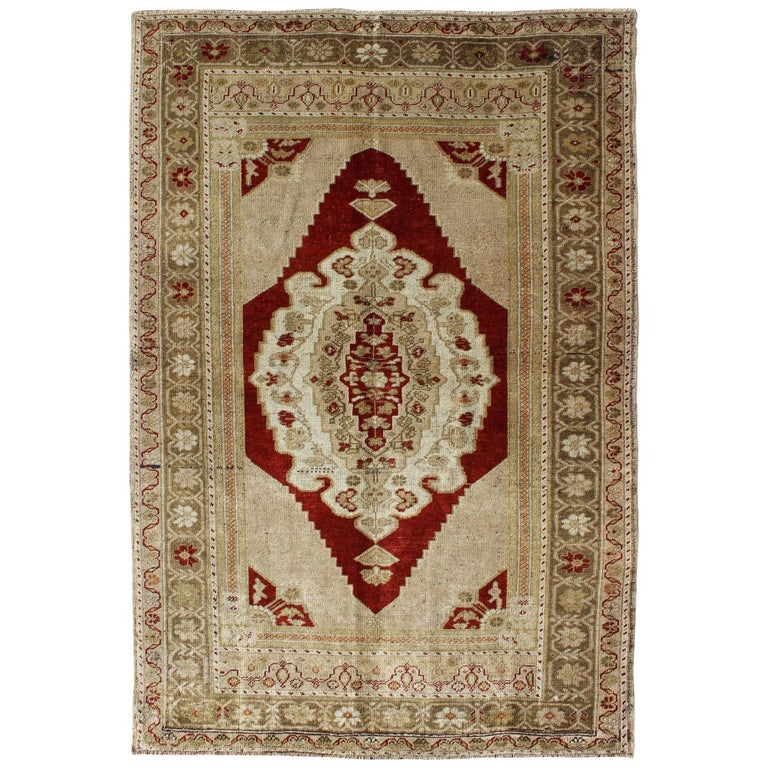 Opulent Layered Medallion Vintage Turkish Oushak Rug in Burgundy, Nude & Gray For Sale