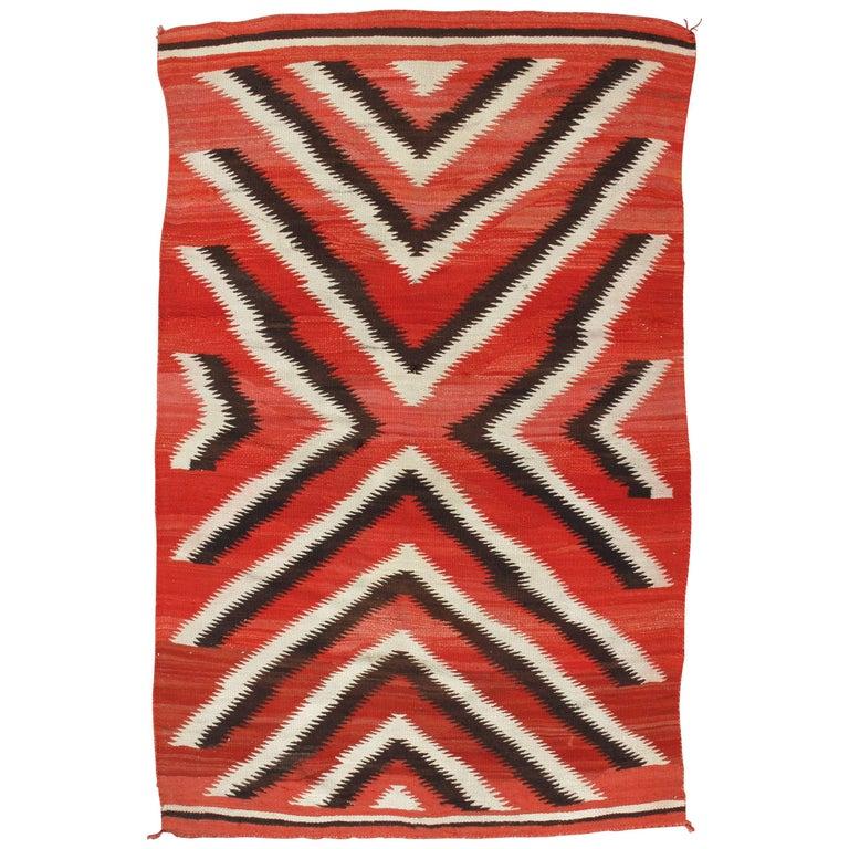 Antique Storm Navajo Carpet, Folk Rug, Handmade Wool, Beige, Red, Brown