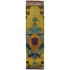 Vintage Turkish Oushak Runner with Modern Contemporary Style, Hallway Runner