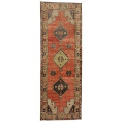Vintage Turkish Oushak Runner with Traditional Modern Style