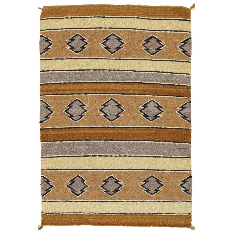 Vintage Navajo Carpet, Folk Rug, Handmade Wool, Beige, Caramel, Tan For Sale