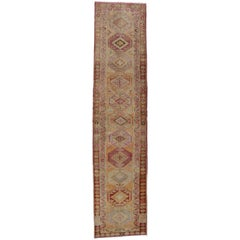Vintage Turkish Oushak Runner with Soft Pastel Colors, Hallway Runner