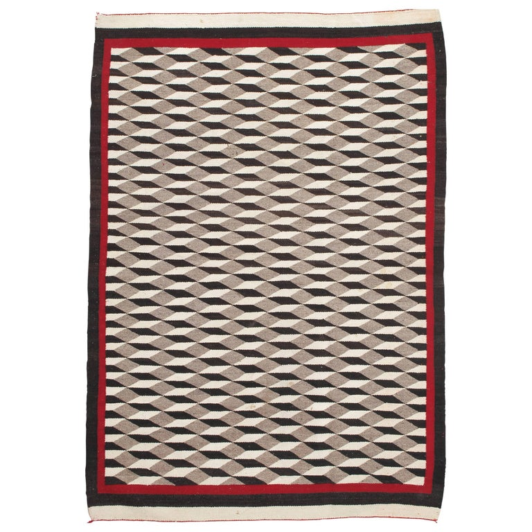 Vintage Navajo Carpet, Folk Rug, Handmade Wool, Beige, Red, Tan