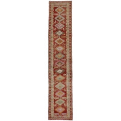 Vintage Turkish Oushak Runner, Narrow Hallway Runner