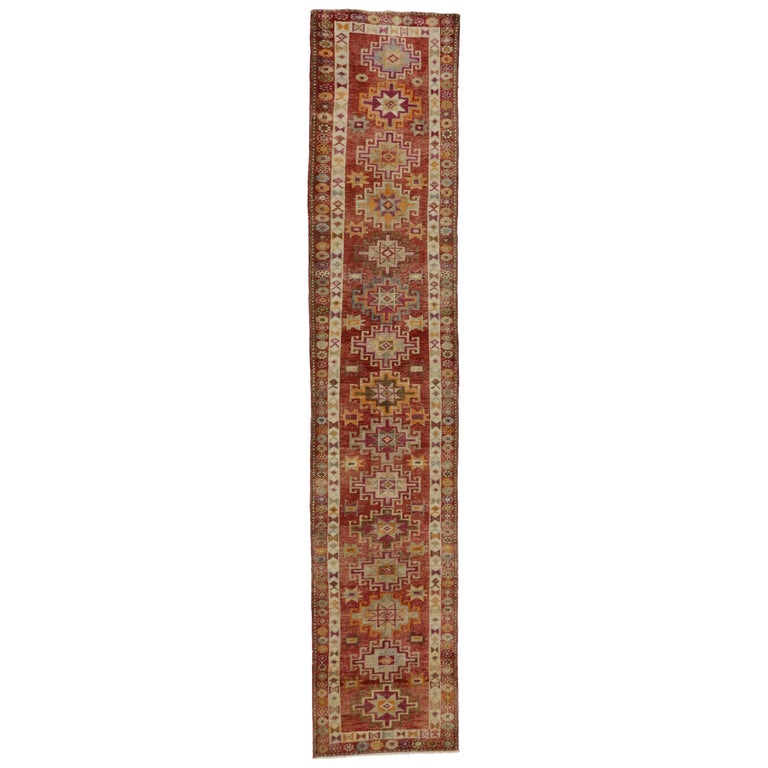 Vintage Turkish Oushak Runner with Mid-Century Modern Art Deco Style For Sale