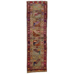 Vintage Turkish Oushak Runner with Tribal Style and Peacock Motifs