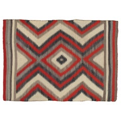 "Antique Storm Navajo Carpet, Folk Rug, Handmade Wool, Beige, Red, Tan 3'11""x5'5"