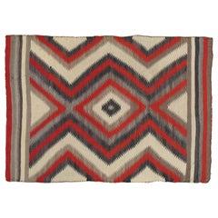 "Antique Storm Navajo Carpet, Folk Rug, Handmade Wool, Beige, Red, Tan 3'11""x5'5"