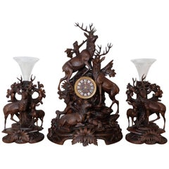 Three-Piece Large Black Forest Stag Clock