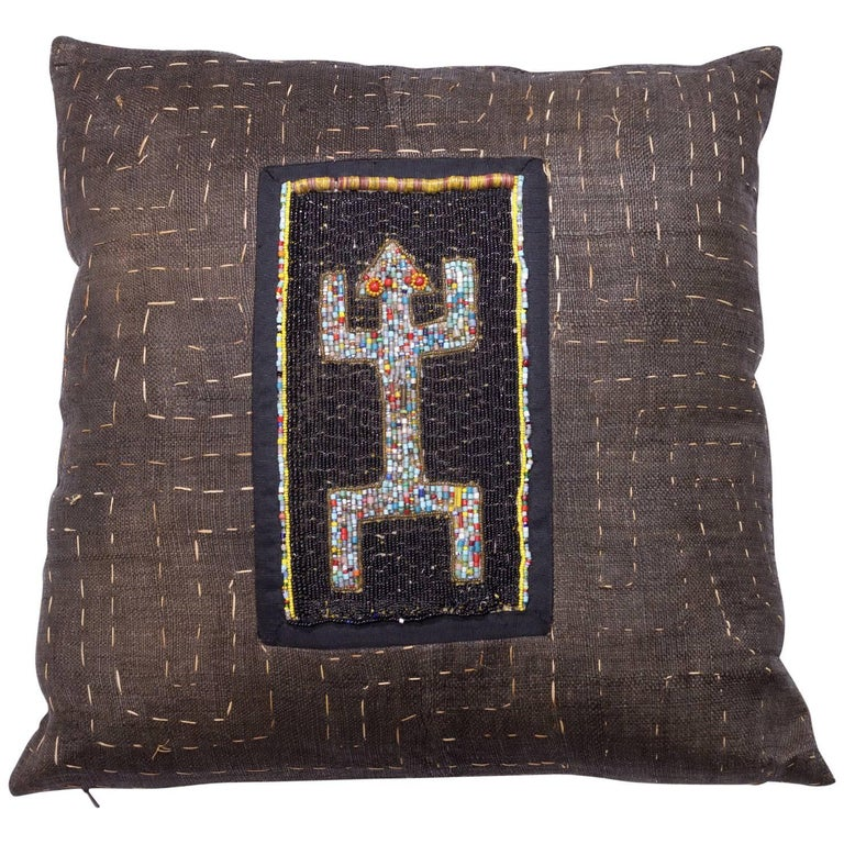 Antique Kuba Cloth with Antique Yourba Beading Pillow For Sale