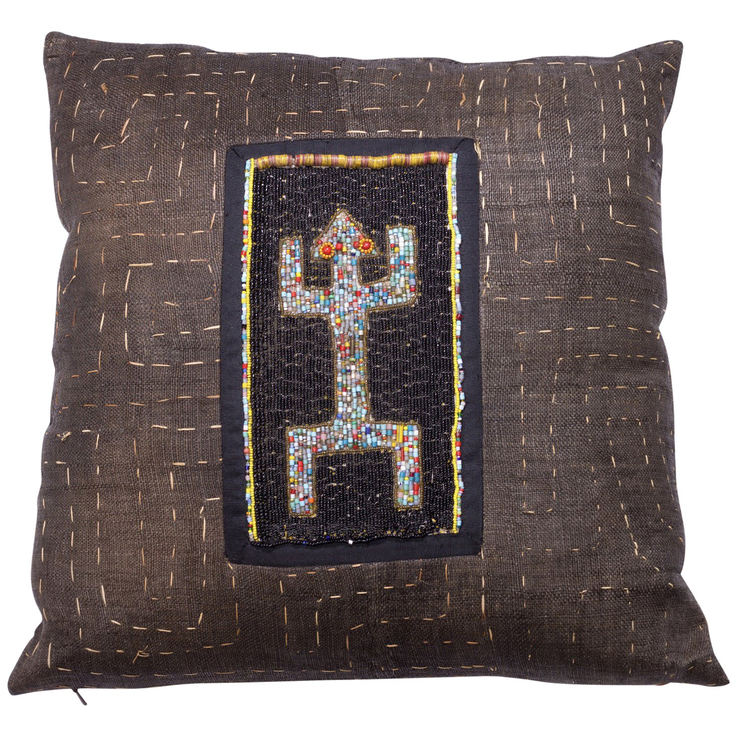 Antique Kuba Cloth with Antique Yourba Beading Pillow