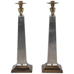 Pair of Silver Giltwood Ram's Head Candlesticks