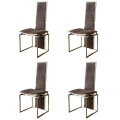 Set of Four High Back Brass Dining or Side Chairs by Willy Rizzo