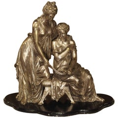 Antique Classical Silvered Bronze of Women Reading a Scroll, France, circa 1870