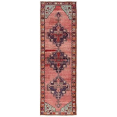 Vintage Turkish Oushak Runner with Geometric Medallions in Red, Brown, Ice Blue