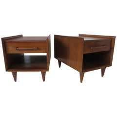 Walnut Nightstands or End Tables by Sherman / Bertram, California