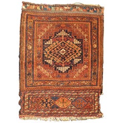 Antique Persian Two-Panel Qashqai Rug with Medallion Design in Orange and Brown