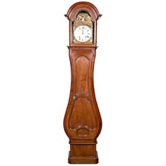 18th Century French Louis XV Period 8-Day Comtoise Walnut Longcase Clock
