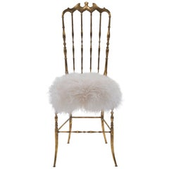 Brass Chiavari Chair with White Icelandic Sheepskin Fur