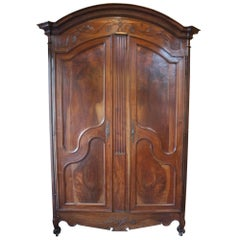 19th Century French Louis XV Carved Walnut Armoire