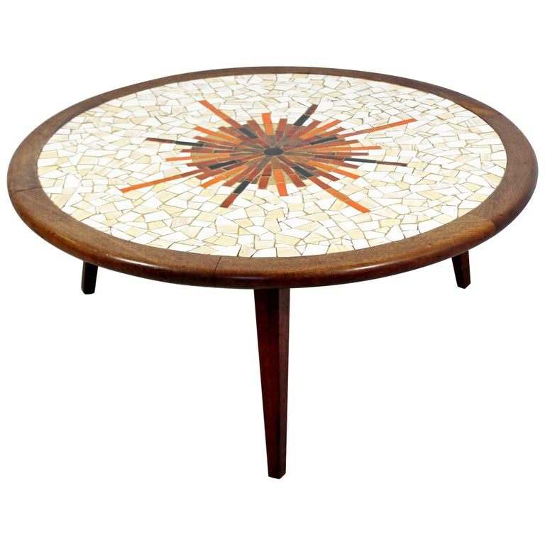 Mid-Century Modern Sunburst Tile Top Wood Coffee Table Hohenberg Martz Era