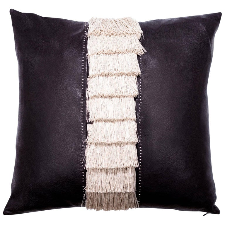 Fine Calf Leather and Fringe Pillow