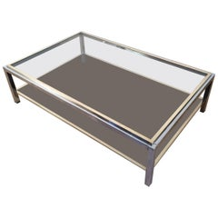Large Brass and Chrome Coffee Table by Willy Rizzo