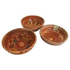 Set of Three Transylvania Vintage Handpainted Redware Pottery,  Folk Art Bowls