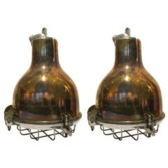 Pair of Ship's Brass Cargo Lights with Aluminium Cage, 1970s