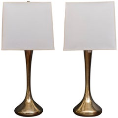 Pair of Brass Laurel Lamps