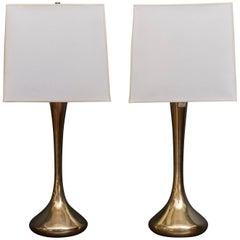 Pair of Brass Laurel Lamps