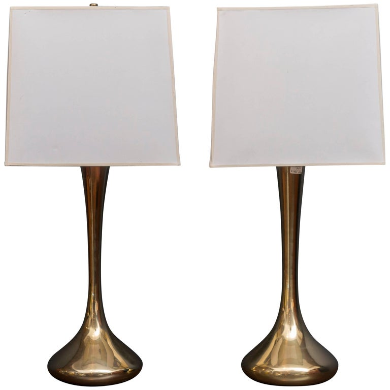 Pair of Brass Laurel Lamps For Sale