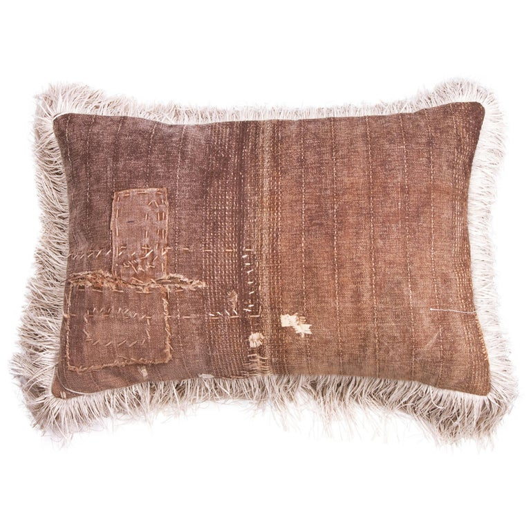 Antique Sakaraburkuo Sake Bag with Cream Fringe Pillow For Sale