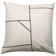 Matte Cream Leather with Chain Detail Pillow