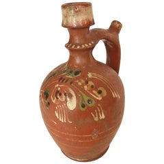 Transylvania Vintage Redware Carafe, Hand-Painted Folk Art Pottery from Romania