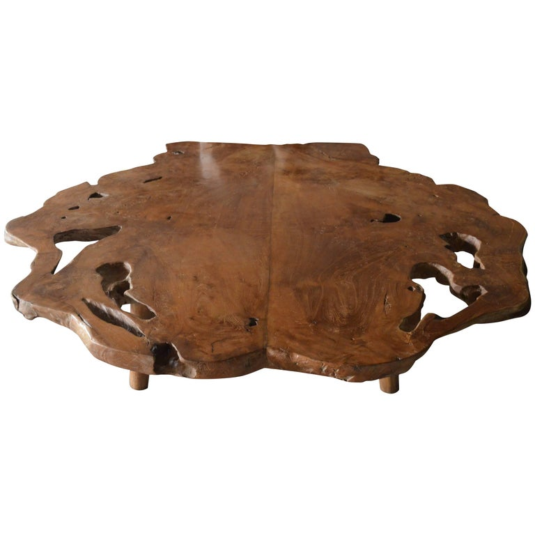 Andrianna Shamaris Midcentury Style Organic Teak Wood Coffee Table