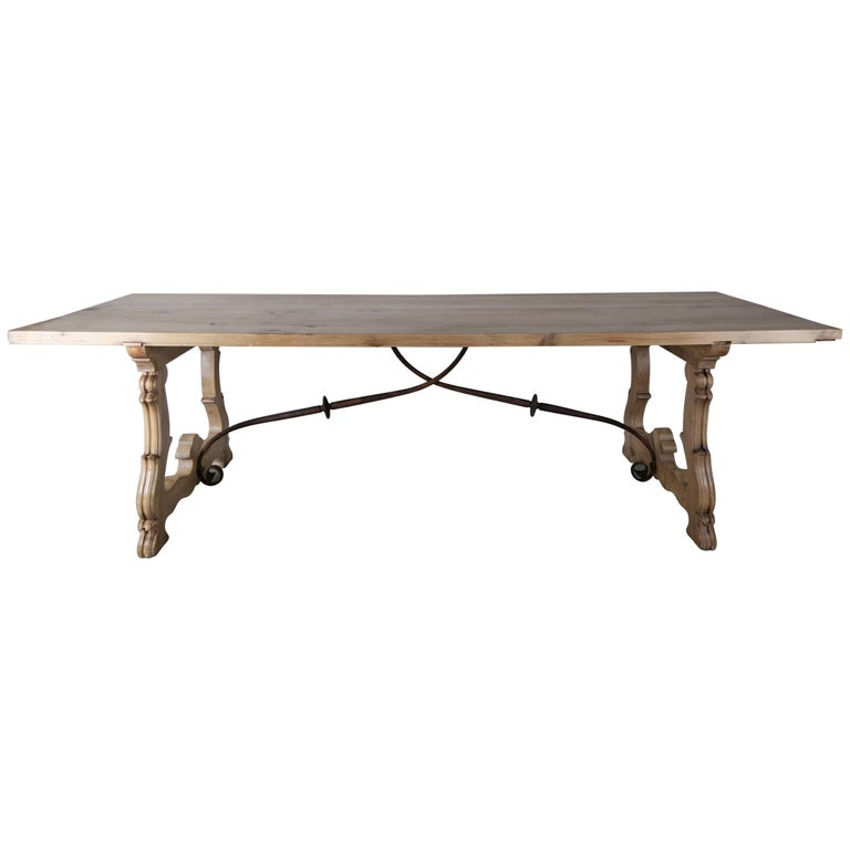 Spanish baroque style walnut refractory dining table for Table in spanish
