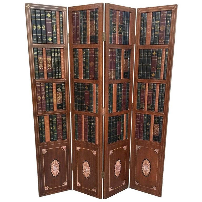 20th Century Leather Book Room Divider