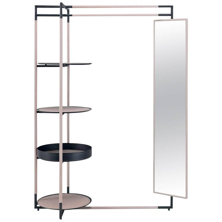 Bak Valet Stand with Mirror, Ferruccio Lavi in Leather & Steel in Various Colors