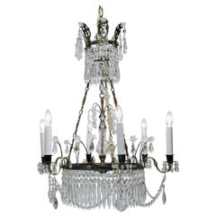 Neoclassical Six-Light Gilt Brass and Crystal Chandelier, Baltic Area