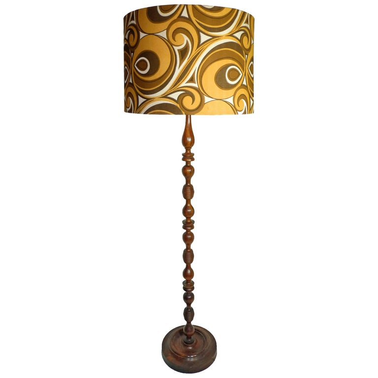 Modernist Twist Floor Lamp Mahogany Wood And Psychedelic Fabric Pop