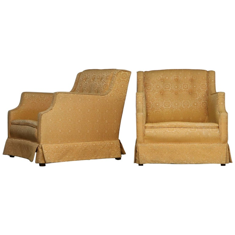 Mid century modern pair of upholstered club chairs frames for Mid century modern upholstered chair