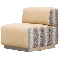 LEGER CHAIR - Modern Leather Chair with Python Skin Side Panels