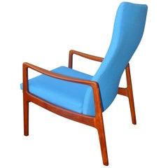 Rare Ole Wanscher Danish Teak High Back Lounge Chair in Blue Kravdrat Wool
