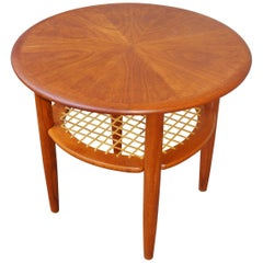 Danish Teak Starburst Side Table Lower Caned Shelf