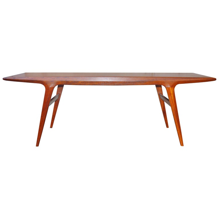 Johannes Andersen Danish Modern Teak Splayed Leg Coffee Table At 1stdibs