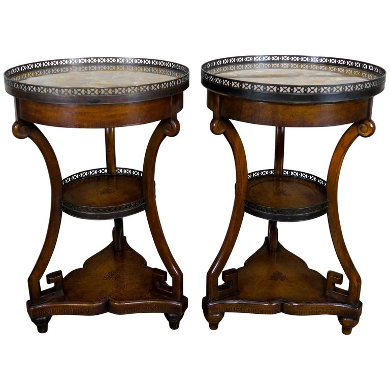French Three-Tier Leather Embossed Tables, Pair