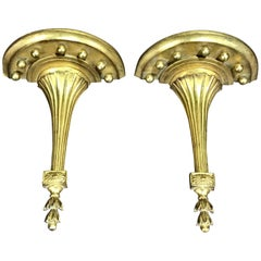 Pair of Tall and Sleek Neoclassical Gilt Wall Brackets, by Borghese